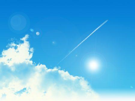 青空と飛行機雲